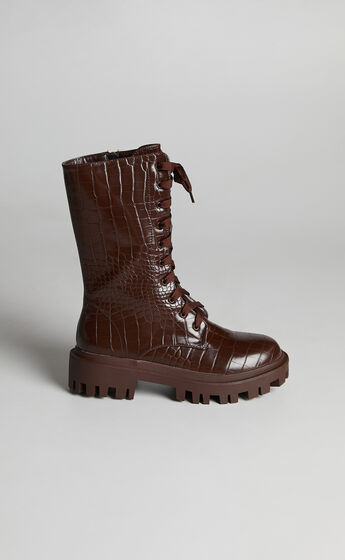 Public Desire - Beau Boots in Chocolate Croc
