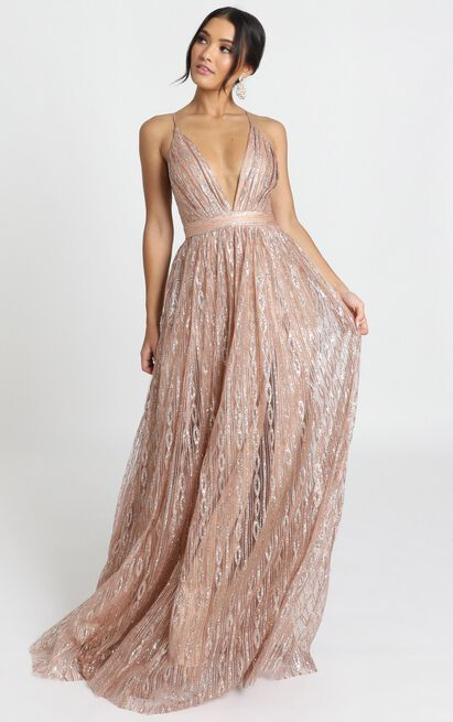 Romantic Night Maxi Dress in rose gold glitter - 12 (L), Rose Gold, hi-res image number null