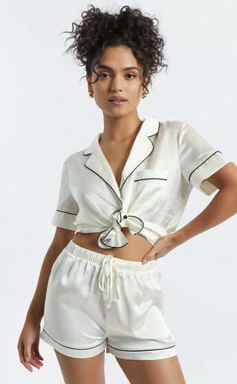 Sleep All Day Top in Ivory Satin