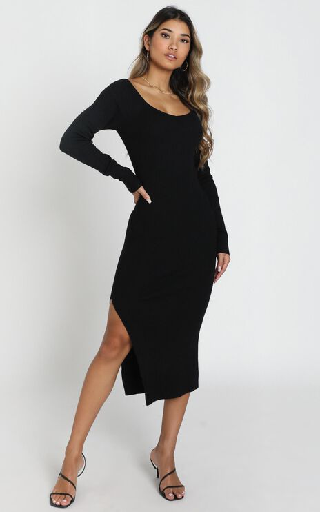 Living For It Knit Dress In Black