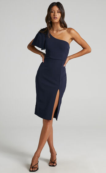 I Got  A Feeling One Shoulder Side Split Knee length Dress in Navy