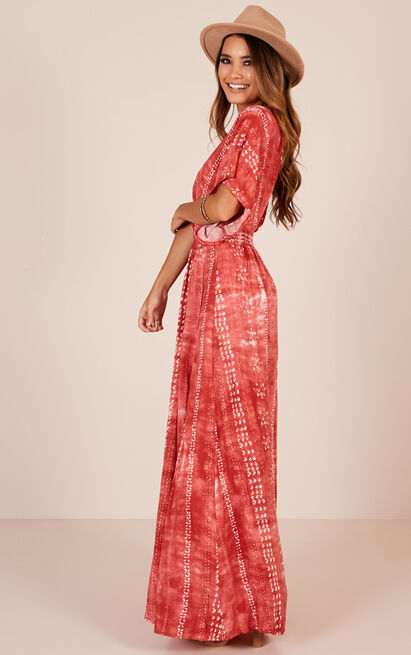 Vacay Ready maxi dress in rust tie dye - 12 (L), Rust, hi-res image number null