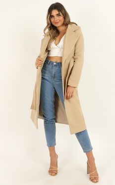 Class Act Trench Coat In Beige