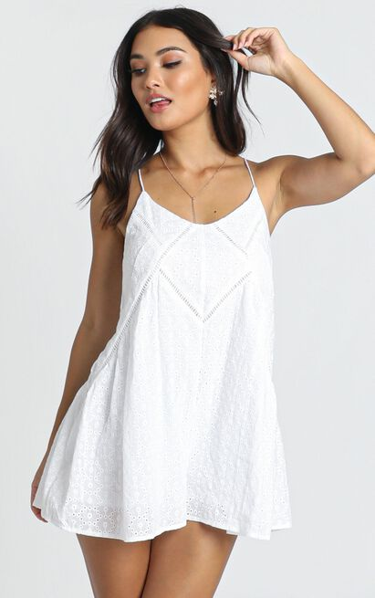 Allira Embroidered Playsuit in white - 14 (XL), White, hi-res image number null