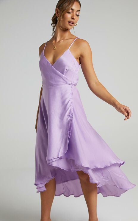 Between Fantasy Dress In Lilac Satin