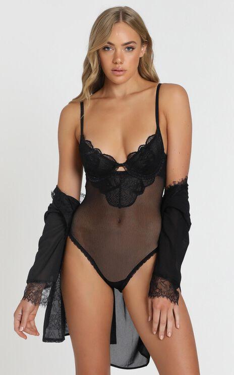 Kat The Label - Zephyr Lace Bodysuit in Black