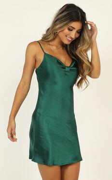 Take Everything Dress In Emerald Green Satin