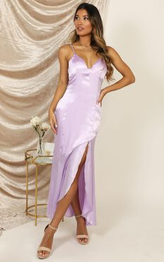 A Touch Of Your Love Dress In Lilac Satin