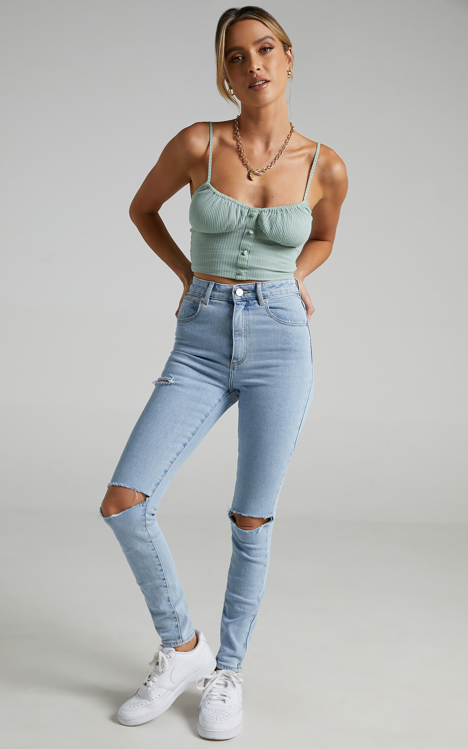 Abrand - A High Skinny Ankle Basher Jean in Walk Away Rip - 06, BLU1, super-hi-res image number null