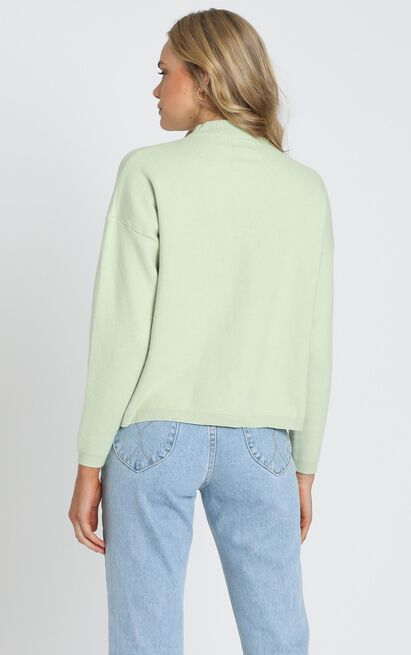 Midnight Glow Knit Jumper In  Pistachio - 8 (S), Green, hi-res image number null