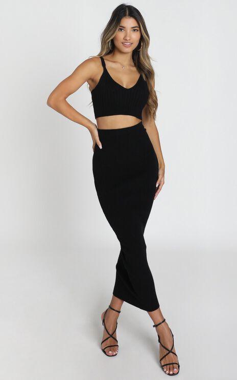 Jessie Knit Skirt in Black Rib