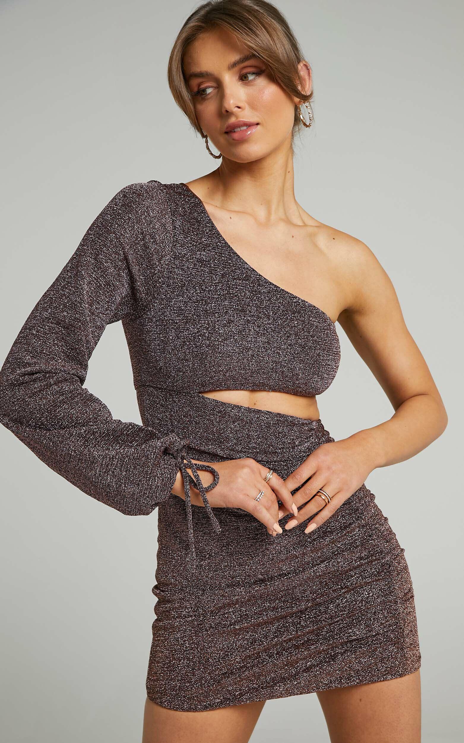 Kuti One Sleeve Asymmetric Mini Bodycon Dress in Chocolate Lurex - 06, BRN1, super-hi-res image number null