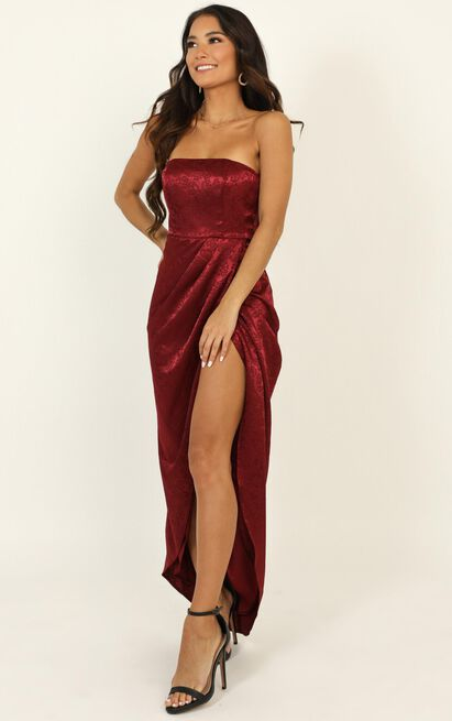 Dream Of You Dress in wine jacquard - 14 (XL), Wine, hi-res image number null