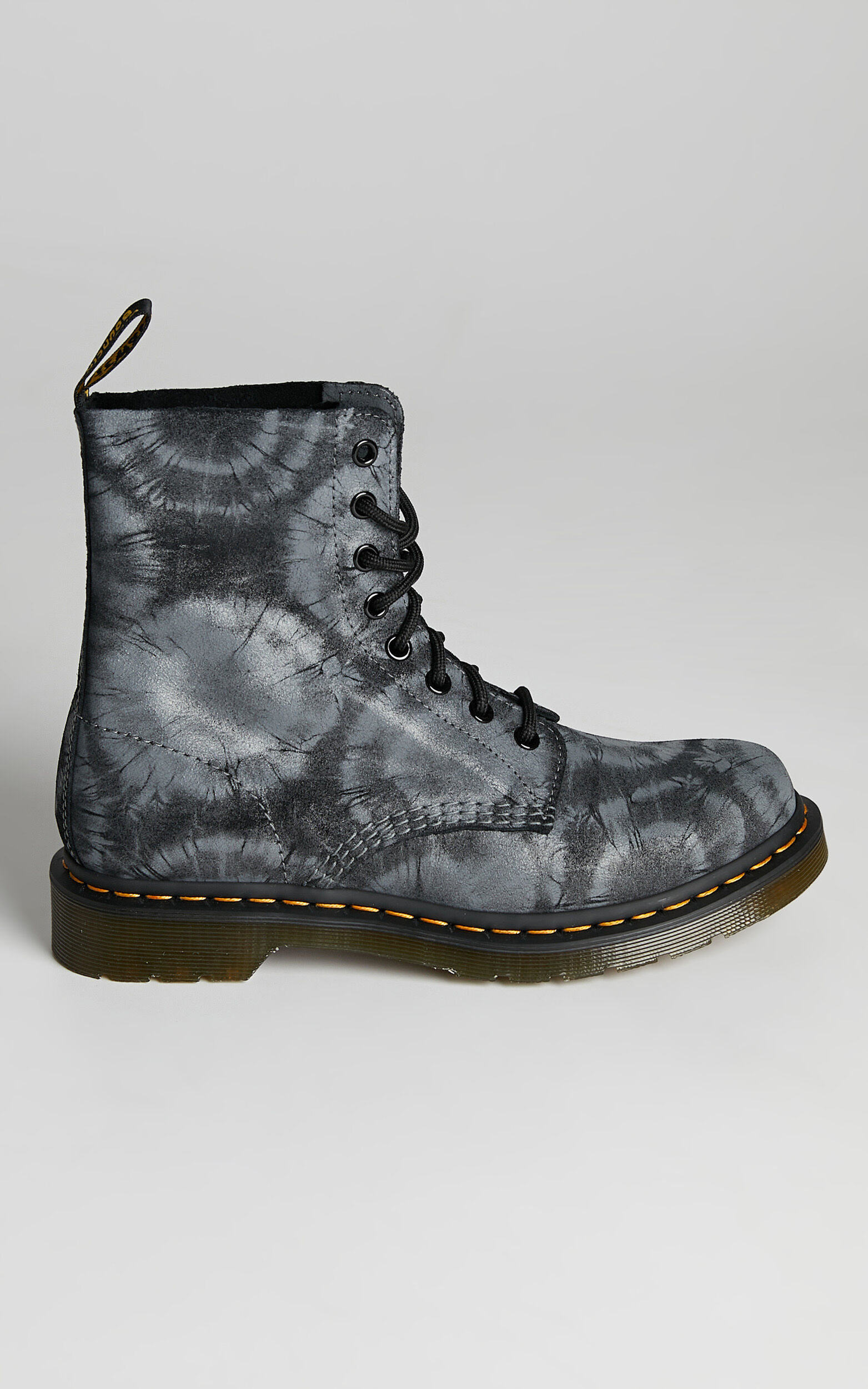 Dr. Martens - 1460 Pascal Tie Dye Boots in Black Charcoal Grey Tie Dye Printed Suede - 05, BLK1, super-hi-res image number null