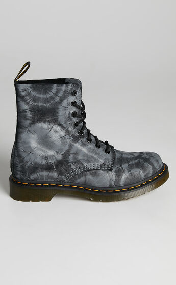 Dr. Martens - 1460 Pascal Tie Dye Boots in Black Charcoal Grey Tie Dye Printed Suede