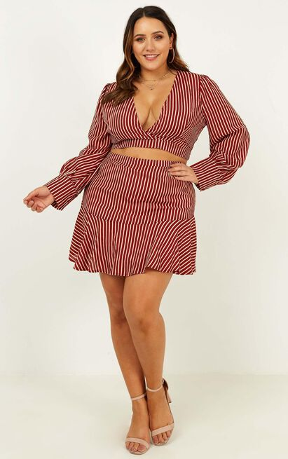 Price Of Beauty Two Piece Set In wine stripe - 12 (L), Wine, hi-res image number null