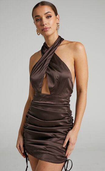 Amellia Halter Neck Cut Out Mini Dress in Chocolate Satin