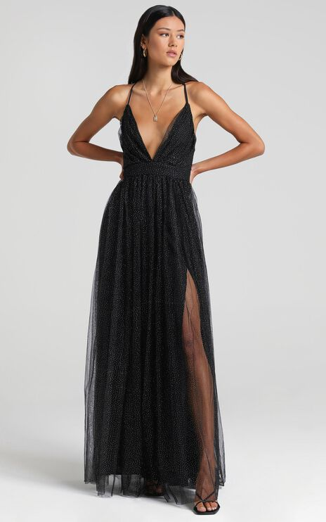 Tell Me Lies Dress In Black Spot Tulle