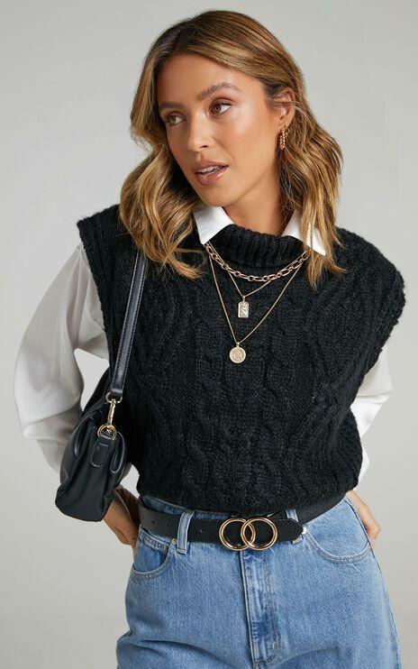 Windsor Knit Vest in Black