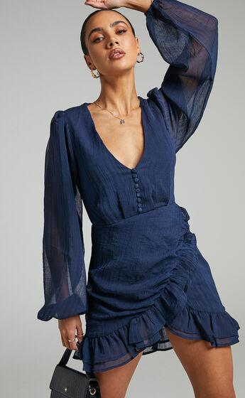 Amoretta Textured Chiffon Mini Dress with Frills in Navy