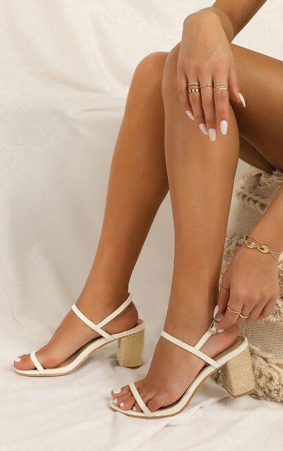 Showpo X Billini - Flores heels in white linen - 10, White, hi-res image number null