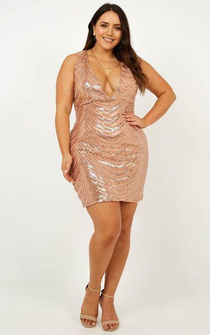 Long List Dress in rose gold sequin - 18 (XXXL), Rose Gold, hi-res image number null