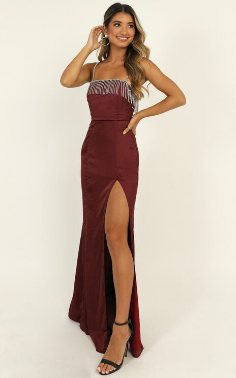 Absolutely Flawless Dress In Wine Satin