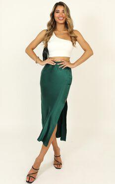 Fashion Game Skirt In Emerald Green Satin