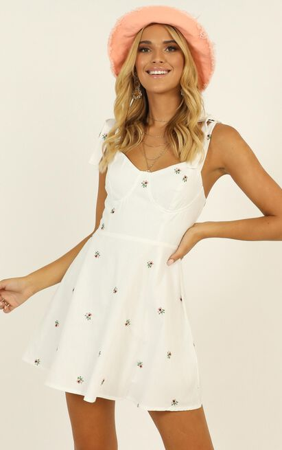 Get Lucky Dress in white embroidered floral - 12 (L), White, hi-res image number null