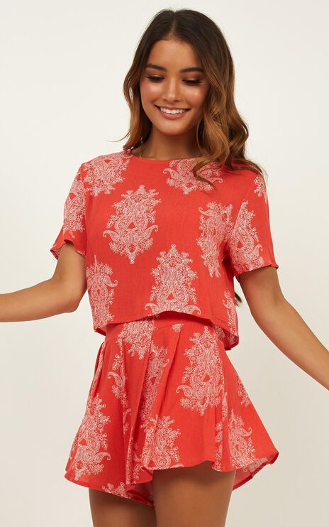 Cottage Hill Two Piece Set In Red Print