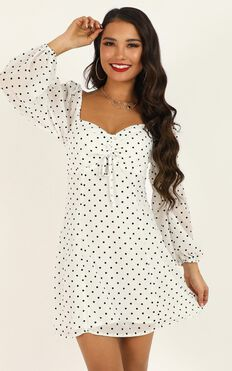 Sprinkles Dress In White Polka