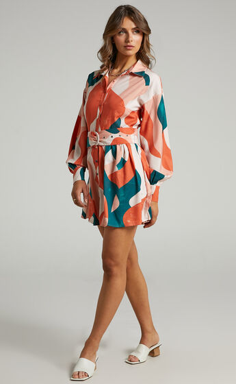 Angelica Button Front Dress with Belt in Tonal Wave
