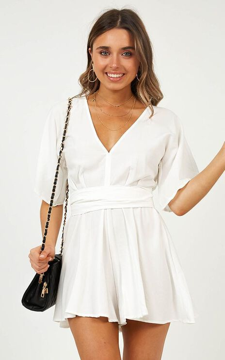 Missing Moments Playsuit In White