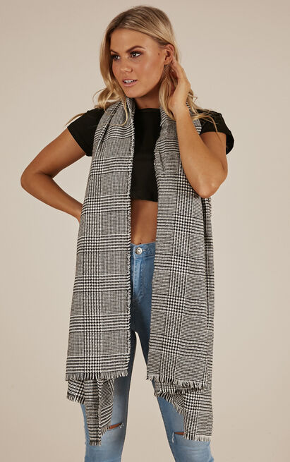 Mysterious Ways wrap scarf in grey check, , hi-res image number null