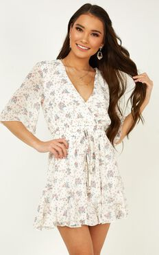 New Memories Playsuit In White Floral