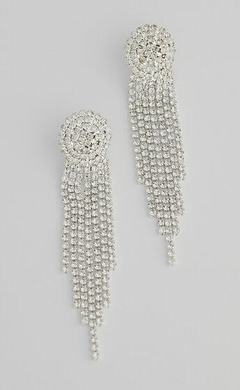 Trinny Drop Earrings in Silver Diamante