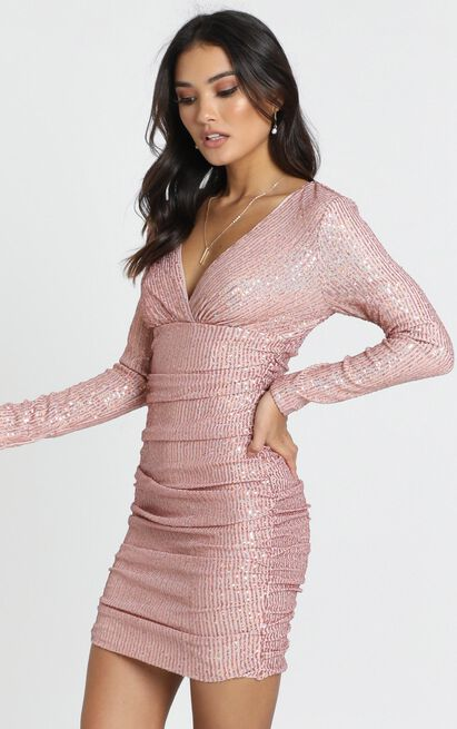 Lola Dress in blush sequin - 12 (L), Blush, hi-res image number null