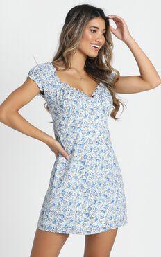 Greta Mini Dress In Blue Floral