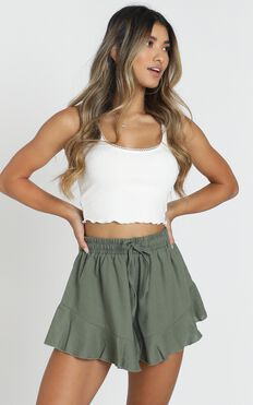 Beach Vibes Shorts In Khaki Linen Look