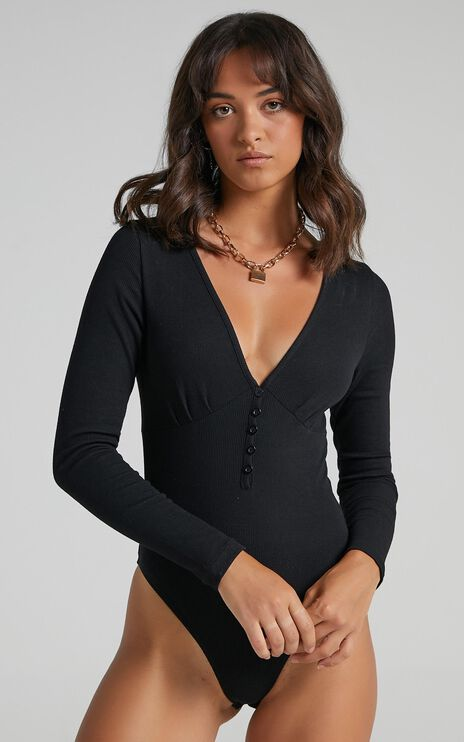 Back To Reality Bodysuit in black