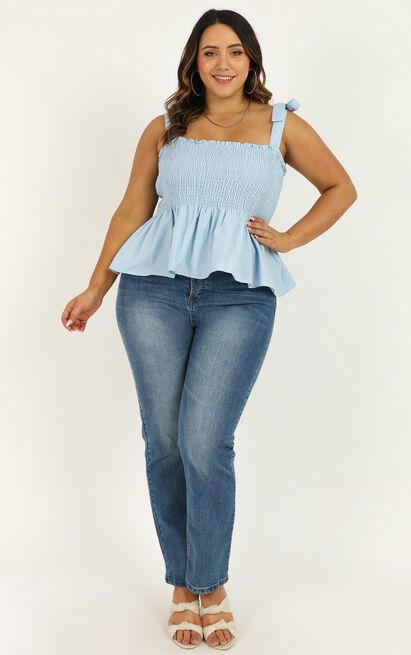 Perfectly Wrong Top in powder blue linen look - 12 (L), Blue, hi-res image number null