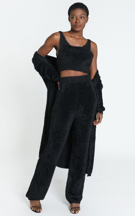 Athena Fluffy Knit Two Piece Set in Black