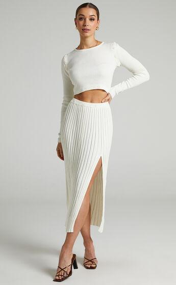 Isador Midi Knit Skirt in Winter White