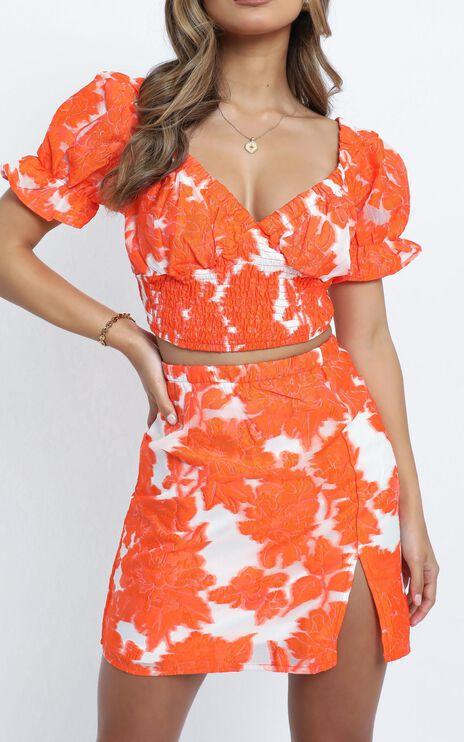 Julietta Two Piece Set in Orange Floral
