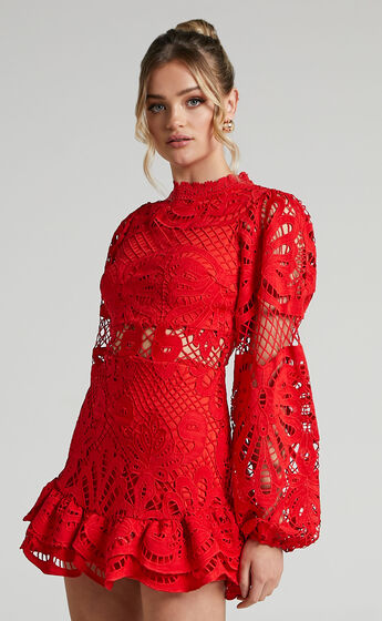 Kiss Me Now Dress in Oxy Red Lace