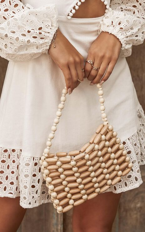 Perfect Timing Beaded Bag In Cream