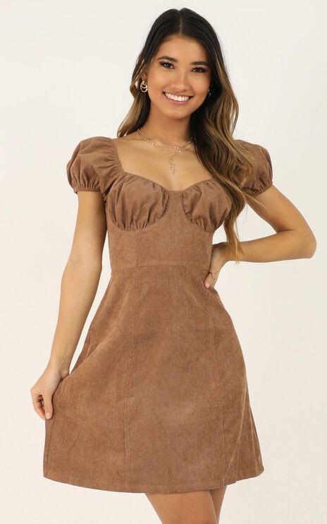 Last Standing Dress In Tan Cord