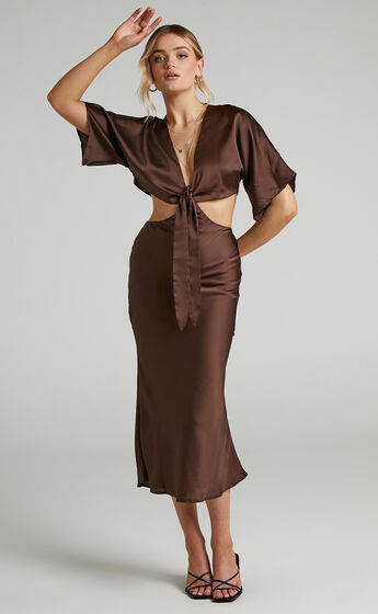 Elyse Tie Front Two Piece Set in Chocolate