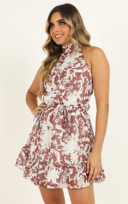 Fly Away With Me dress in red print - 12 (L), Red, hi-res image number null