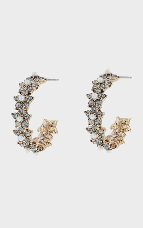 Jolie & Deen - Caroline Crystal Hoops in Gold